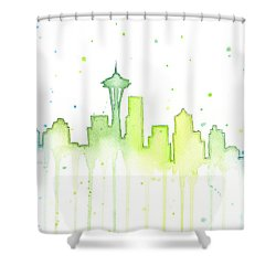 Seattle Skyline Watercolor  Shower Curtain by Olga Shvartsur