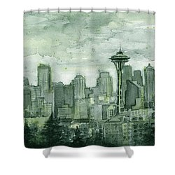 Seattle Skyline Watercolor Space Needle Shower Curtain by Olga Shvartsur