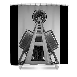 Seattle Space Needle In Black And White Shower Curtain by Patrick Fennell