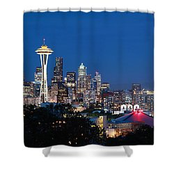 Shower Curtain featuring the photograph Seattle Twight by Peter Simmons