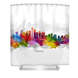 Seattle Washington Cityscape 13 Shower Curtain by Aged Pixel