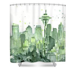 Seattle Watercolor Shower Curtain by Olga Shvartsur