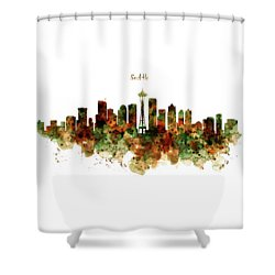 Shower Curtain featuring the mixed media Seattle Watercolor Skyline Poster by Marian Voicu