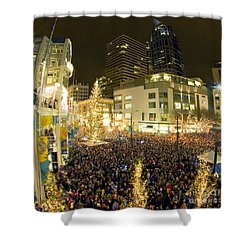 Shower Curtain featuring the photograph Seattle Westlake Tree Lighting by Peter Simmons