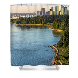 Seawall Along Stanley Park In Vancouver Bc Shower Curtain by David Gn