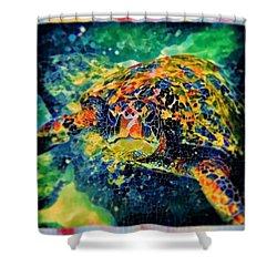 Shower Curtain featuring the digital art Sebastian The Turtle by Erika Swartzkopf