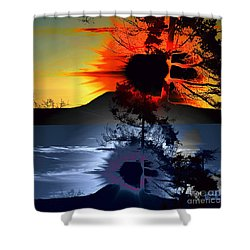 Sechelt Tree Sun And Moon Shower Curtain by Elaine Hunter