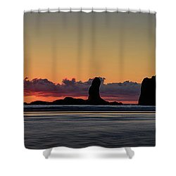 Shower Curtain featuring the photograph Second Beach Silhouettes by Dan Mihai