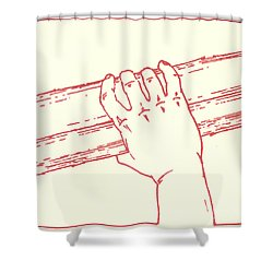 Shower Curtain featuring the drawing Second Station- Jesus Is Made To Carry His Cross by William Hart McNichols