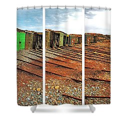 Shower Curtain featuring the photograph Second Valley Boat Sheds by Stephen Mitchell