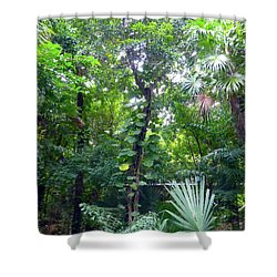 Shower Curtain featuring the photograph Secret Bridge In The Tropical Garden by Francesca Mackenney