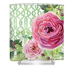 Shower Curtain featuring the painting Secret Garden 3 - Pink English Roses With Woodsy Fern, Wild Berries, Hops And Trellis by Audrey Jeanne Roberts