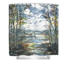 Shower Curtain featuring the painting Secret Sailing Spot by Reed Novotny