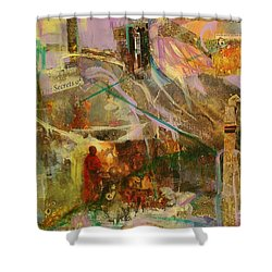 Shower Curtain featuring the mixed media Secrets by Mary Schiros
