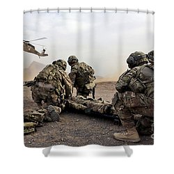 Security Force Team Members Wait Shower Curtain by Stocktrek Images