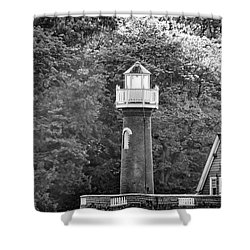 Shower Curtain featuring the photograph Sedgely Club - Turtle Rock Lighthouse by Bill Cannon