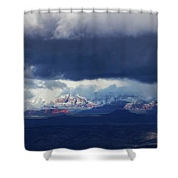 Shower Curtain featuring the photograph Sedona Area Third Winter Storm by Ron Chilston