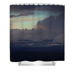 Shower Curtain featuring the photograph Sedona At Sunset With Red Rock Snow by Ron Chilston