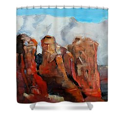 Sedona Coffee Pot Rock Painting Shower Curtain