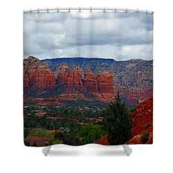 Sedona Mountains Shower Curtain by Susanne Van Hulst