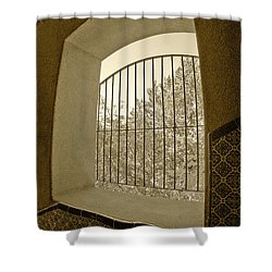 Shower Curtain featuring the photograph Sedona Series - Through The Window by Ben and Raisa Gertsberg