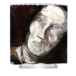 Shower Curtain featuring the painting See No Evil by Helen Syron