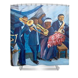 Shower Curtain featuring the painting See The Music by Saundra Johnson