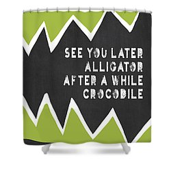 Shower Curtain featuring the painting See You Later Alligator by Lisa Weedn