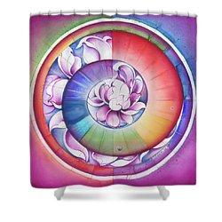 Seed Of Life - Mandala Of Divine Creation Shower Curtain by Anna Miarczynska