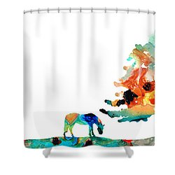 Seeking Shelter - Colorful Horse Art Painting Shower Curtain by Sharon Cummings