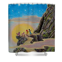 Shower Curtain featuring the painting Seeking The Dragons Vast Treasure by Matt Konar
