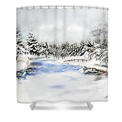 Seeley Montana Winter Shower Curtain by Susan Kinney