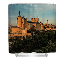 Segovia Alcazar And Cathedral Golden Hour Shower Curtain