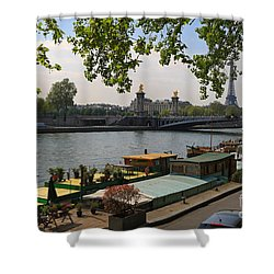 Seine Barges In Paris In Spring Shower Curtain by Louise Heusinkveld