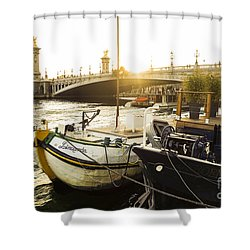 Seine River With Barges And Boats, Pont De Alexandre Bridge Behind, Paris France. Shower Curtain by Perry Van Munster