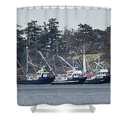 Shower Curtain featuring the photograph Seiners In Nw Bay by Randy Hall