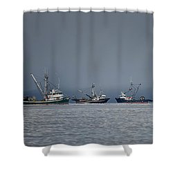 Shower Curtain featuring the photograph Seiners Off Mistaken Island by Randy Hall