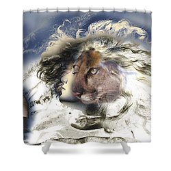 Shower Curtain featuring the painting Sekhmet by Ragen Mendenhall