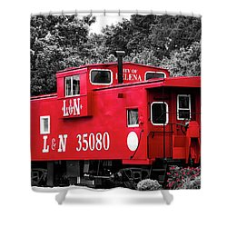 Shower Curtain featuring the photograph Selective Color Red Caboose by Parker Cunningham