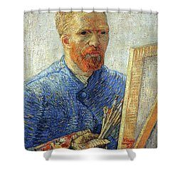 Shower Curtain featuring the painting Self Portrait As An Artist by Van Gogh