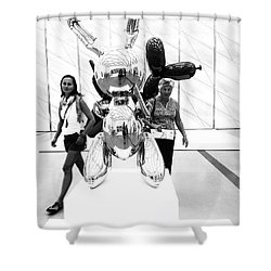 Self Portrait In Jeff Koons Mylar Rabbit Balloon Sculpture Shower Curtain