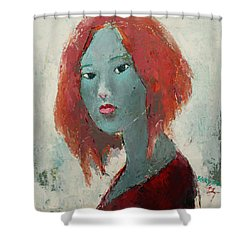 Shower Curtain featuring the painting Self Portrait 1502 by Becky Kim