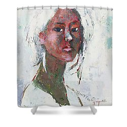 Shower Curtain featuring the painting Self Portrait 1503 by Becky Kim