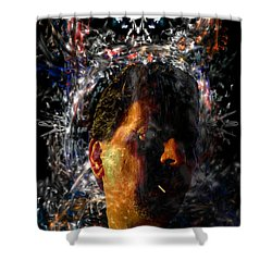 Shower Curtain featuring the digital art Self Portrait With Aura by Reed Novotny