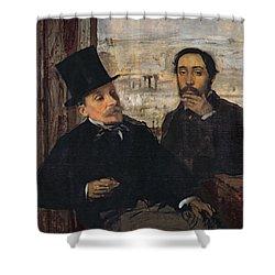 Self Portrait With Evariste De Valernes Shower Curtain by Edgar Degas