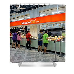 Shower Curtain featuring the photograph Self-service Restaurant On A Sidewalk In Kaohsiung City by Yali Shi