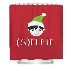 Selfie Elf- Art By Linda Woods Shower Curtain