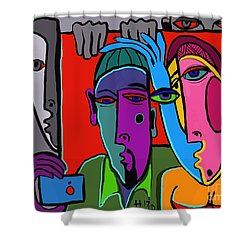 Selfie Shower Curtain by Hans Magden