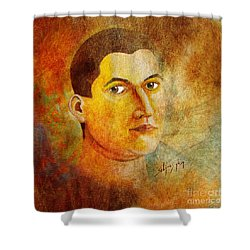 Shower Curtain featuring the painting Selfportrait Oil by Alexa Szlavics