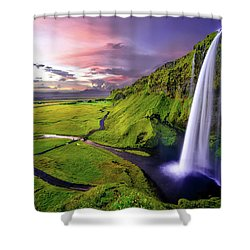 Seljalandsfoss Waterfall Shower Curtain